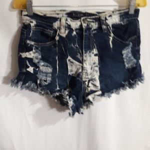 B&G Shorts Distressed Color:Blue & White Size:L